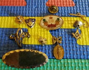 4102b6255 Vintage Masonic,Fleur de Lis, Queen Elizabeth Royal 50, Boy Scout, Eagle  Scout, NMA, Goldtone unused Name Tag, Masonic Pin Lot, Misc Pin Lot