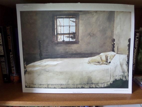 Master Bedroom Print Andrew Wyeth Print Dog Sleeping In Bed Print 16 X 12 Print