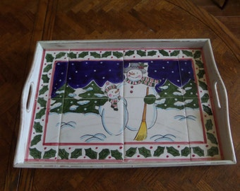 Snowman Tray, Ceramic Tile Wood Tray, Snowman Gift, Snowman Tile, Snowman Serving Tray, Whismical Tray,Holiday Serving Tray,Winter Dishes