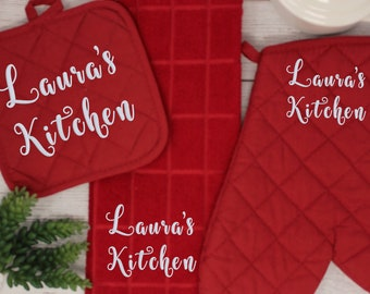 Home Kitchen Cooking FREE Shipping 3 Colors Custom Monogram  Name Embroidered Gift Personalized Oven Mitt and Pot Holder set
