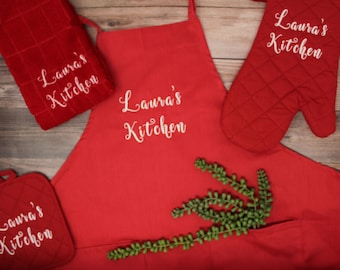 Kitchen Gift Set-Personalized Embroidery -Oven Mitt, Pot Holder, Towel (Perfect Gift!)  Quick Processing!