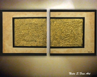 Heavy Textured Painting Gold Abstract Textured Art Large Abstract Painting on Canvas Modern Wall Art Living Room Wall Art by Nata