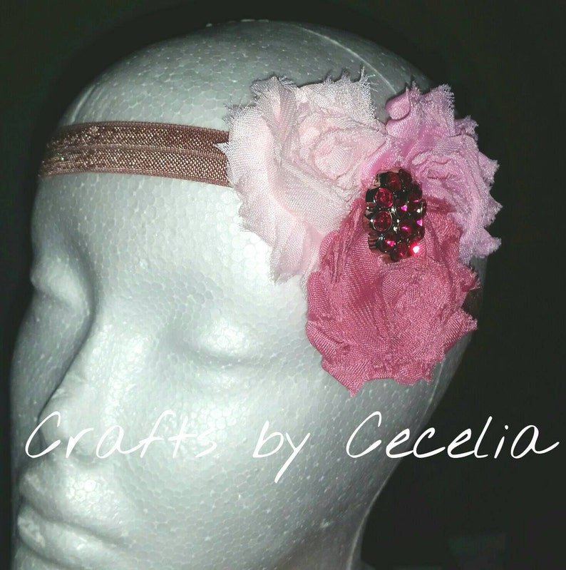 accessory mauve headband newborn headband pink rhinestone light pink headband baby girl gift pink sparkle photo prop Pink headband