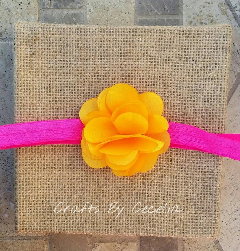 baby headband neon orange and neon pink neon headband, summer headband neon pink headband photo prop newborn pink and orange