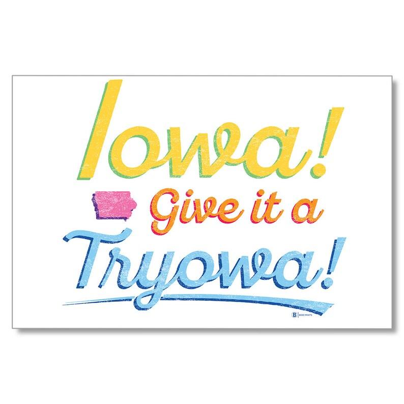 White Postcard Give it a Tryowa Iowa