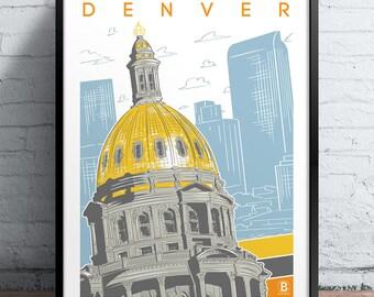 Denver Capitol Screen Printed Poster