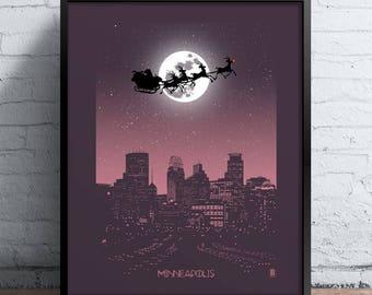 Minneapolis Holiday Moon Print