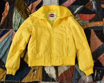 1275b5bb79278 Vintage 70s NORDSTROM Brass Plum Sunshine Yellow Cropped Winter Jackets Size  S