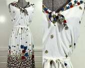 1970s Union Made Floral Dress and Open Shirt Set M