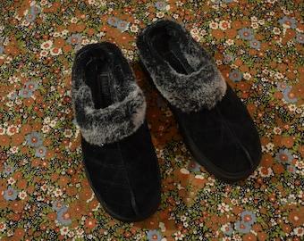 af03b0bf728cc2 Vintage 90s SKECHERS Chunky Platform Faux Fur Suede Slip On Slippers Size 7