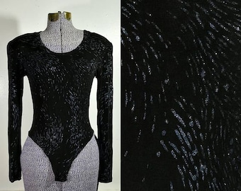 90s Black Stretch Cotton Bodysuit with Small Lace Trim Bow Detail and Snap Crotch