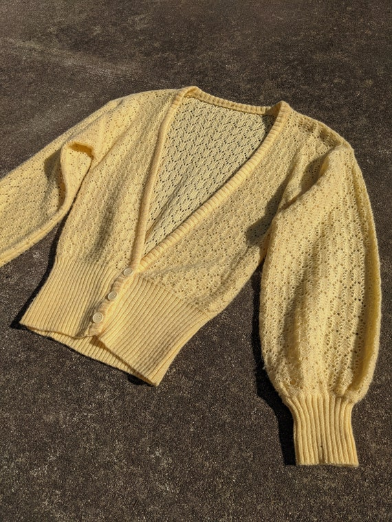 70s Butter Yellow Balloon Sleeve Knit Cardigan / … - image 2