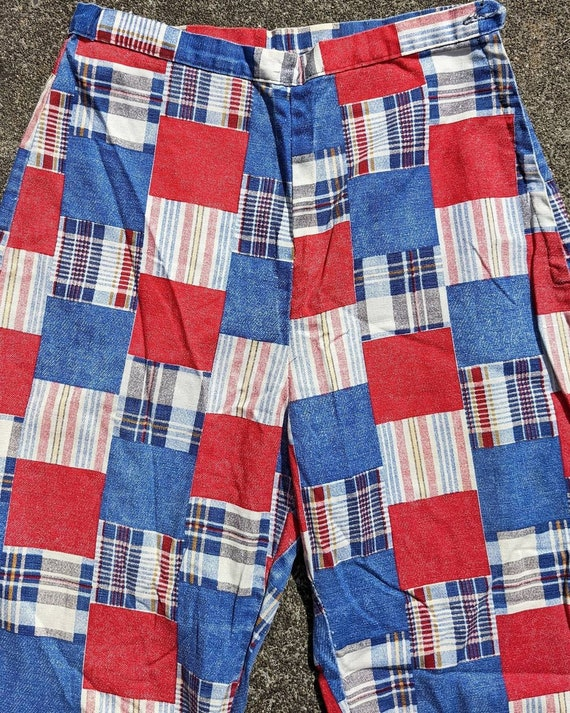 70s Patchwork Print Cotton Side Zip Pants / S - image 4