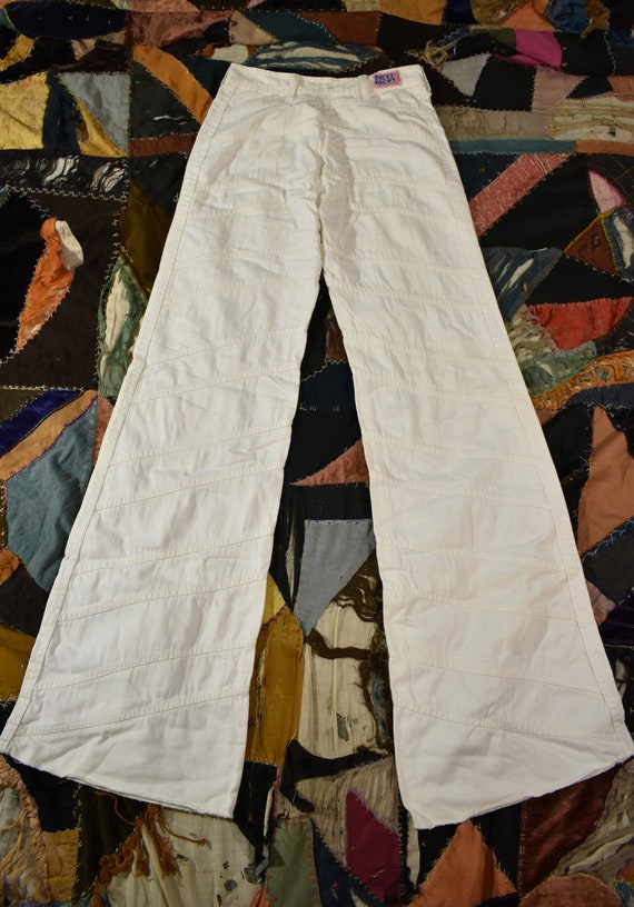 FADED GLORY 70s Patchwork White Denim Jean Bellbo… - image 4