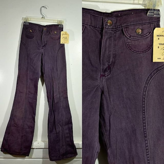 "1970s Deadstock ""Maverick"" Lilac High Waist Bellbo"