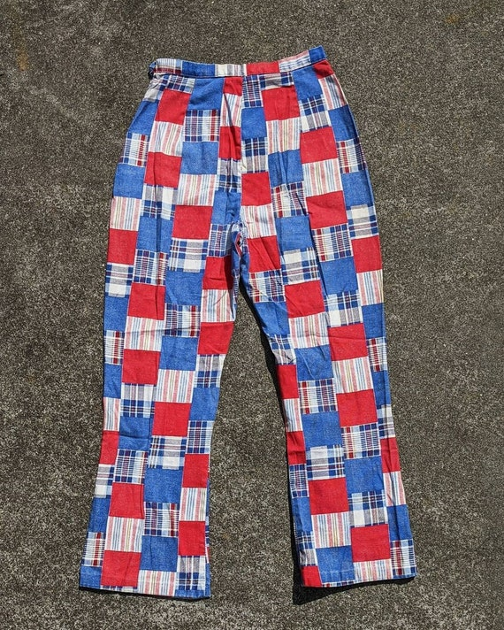 70s Patchwork Print Cotton Side Zip Pants / S - image 2