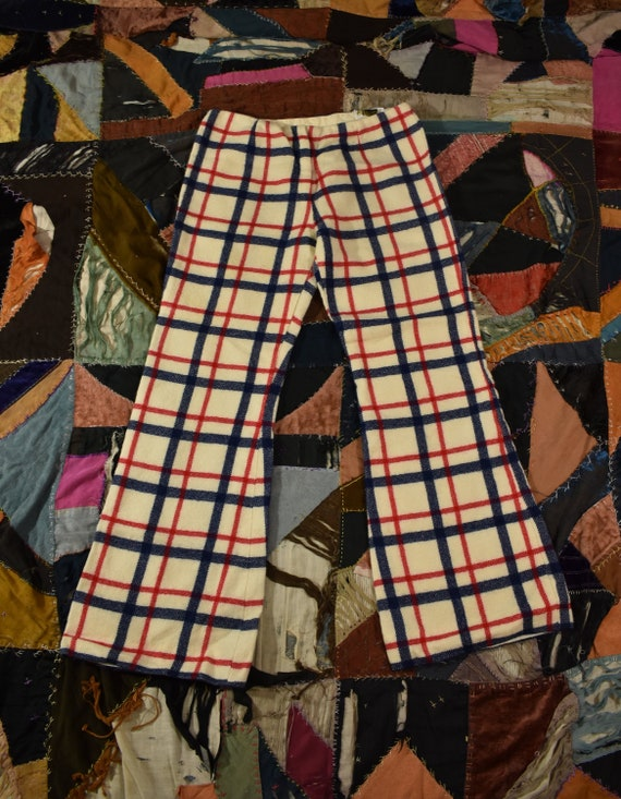 70s Plaid Wool Pants Size Small
