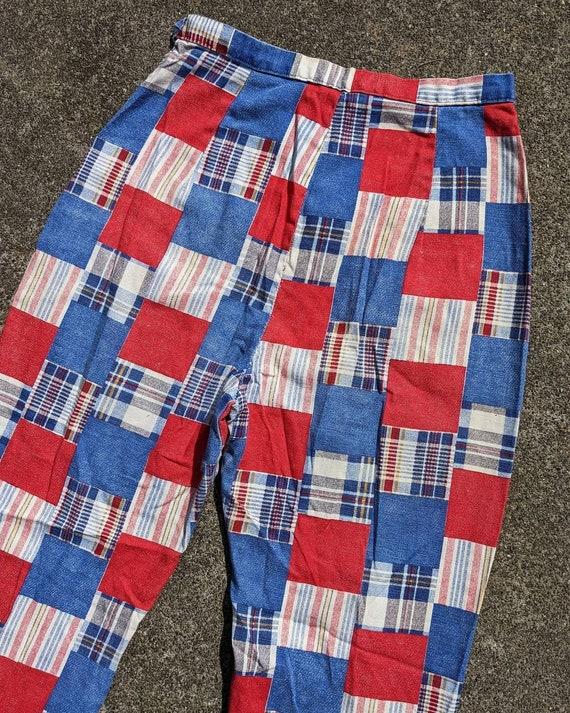 70s Patchwork Print Cotton Side Zip Pants / S - image 3