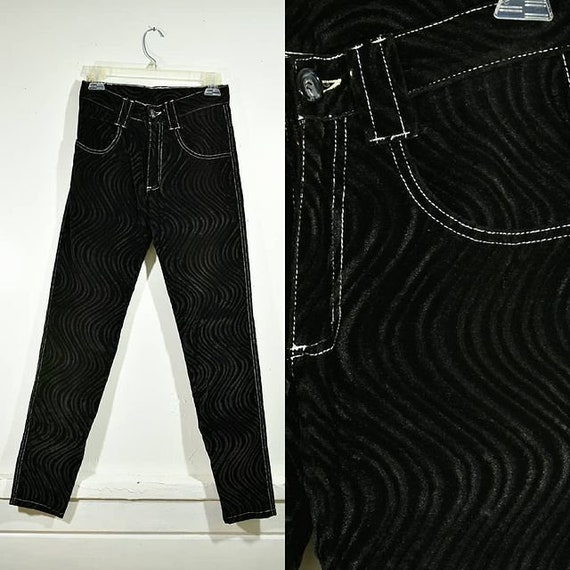 """1990s """"Serious"""" Black Swirl Textured Velvet Straig"""