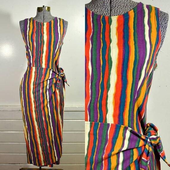 1960s/70s Cotton Rainbow Stripe Sarong Style Wrap