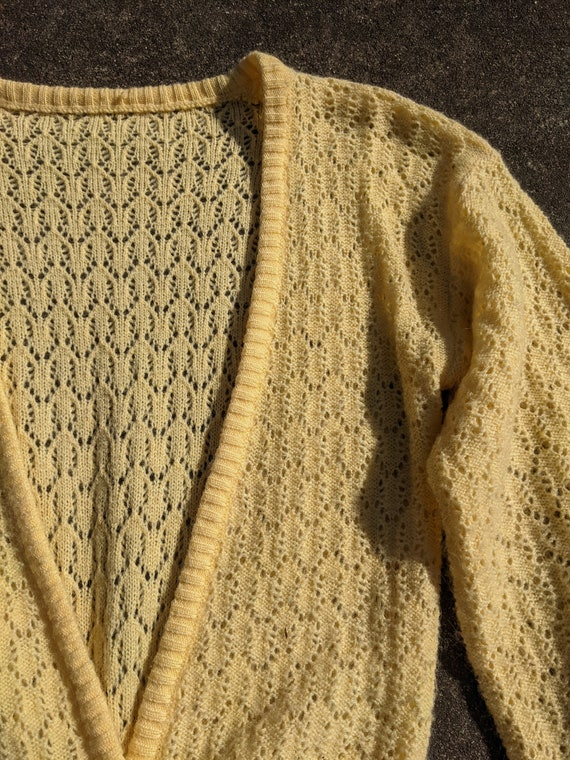 70s Butter Yellow Balloon Sleeve Knit Cardigan / … - image 3