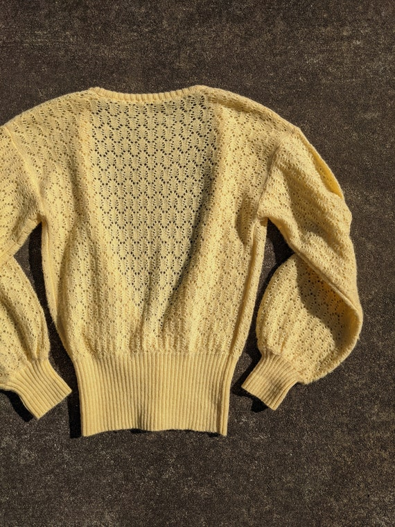 70s Butter Yellow Balloon Sleeve Knit Cardigan / … - image 6