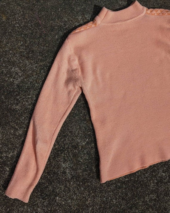 80s Peach Textured Knit Mockneck Sweater / S-M - image 3
