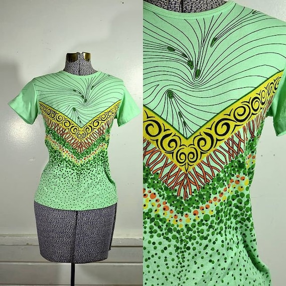 1960s Seafoam Psychedelic Print Poly Short Sleeve