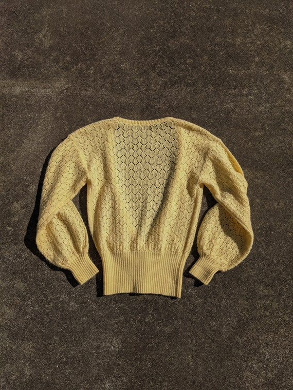 70s Butter Yellow Balloon Sleeve Knit Cardigan / … - image 5