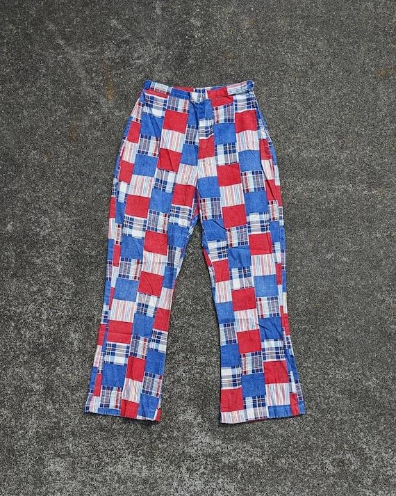 70s Patchwork Print Cotton Side Zip Pants / S - image 1