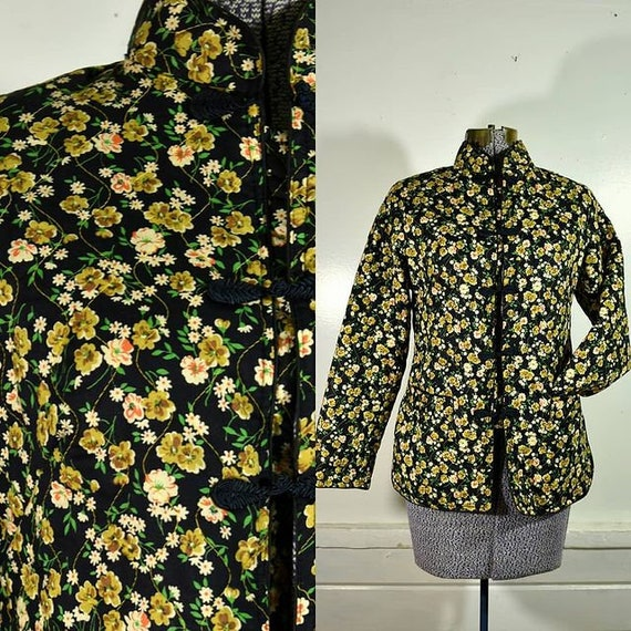 1970s/80s Quilted Cotton Floral Jacket / S