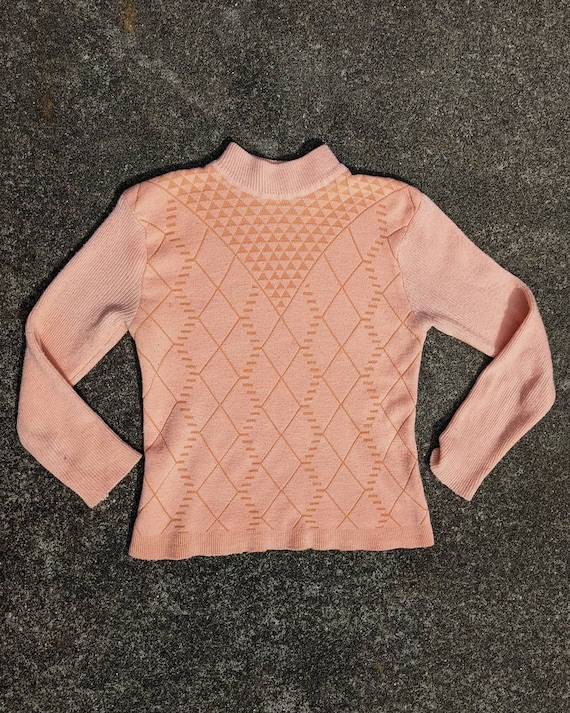 80s Peach Textured Knit Mockneck Sweater / S-M - image 1