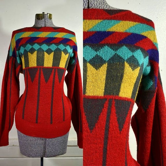 "1980s ""Mondi"" Geometric Graphic Sweater / M"
