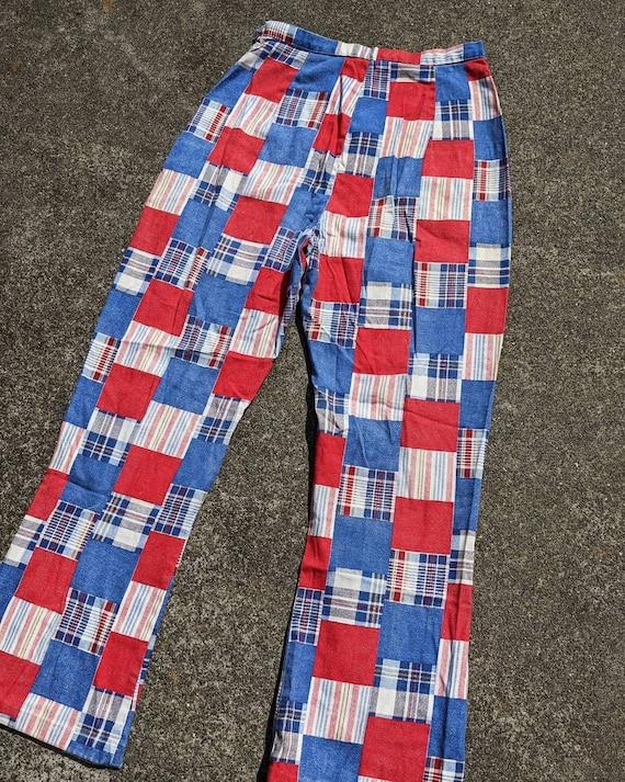 70s Patchwork Print Cotton Side Zip Pants / S - image 5