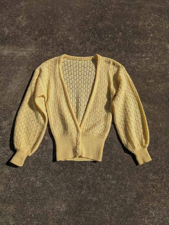 70s Butter Yellow Balloon Sleeve Knit Cardigan / S
