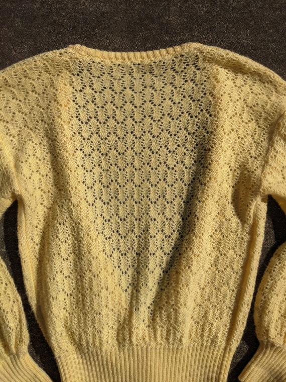 70s Butter Yellow Balloon Sleeve Knit Cardigan / … - image 7