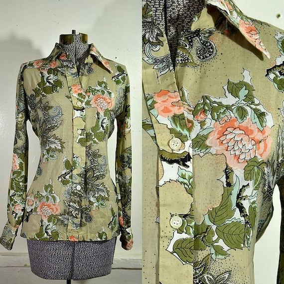 Vintage 1960/'s Mod Abstract Paisley Button Up Blouse with Pointed Collar