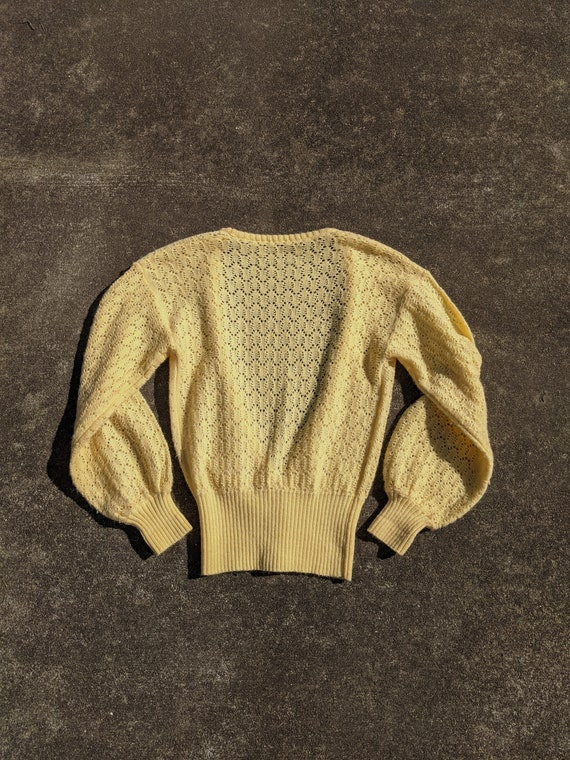 70s Butter Yellow Balloon Sleeve Knit Cardigan / … - image 4