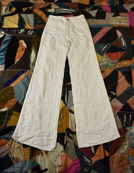 "1970s ""Faded Glory"" White Denim Patchwork High Wai"