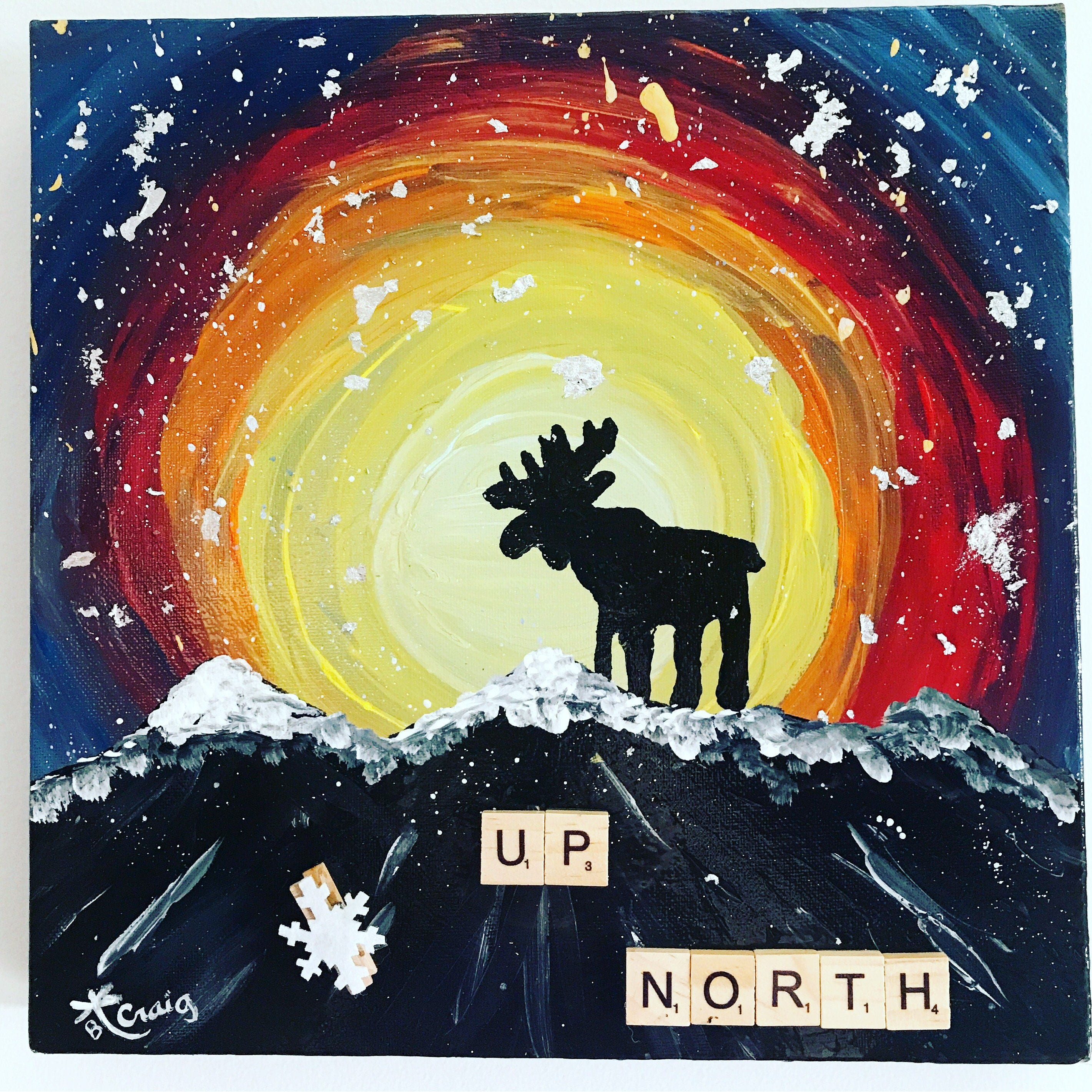 Up north moose painting