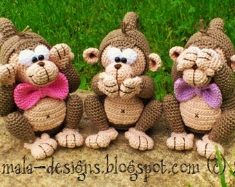 three monkeys - a crochet pattern by mala designs