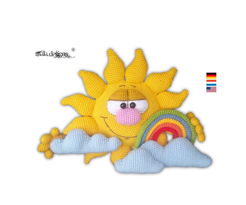 sun with clouds and rainbow crochet pattern image 0