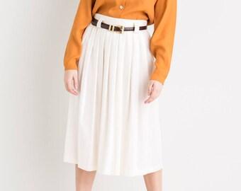 80s White Gathered Skirt M