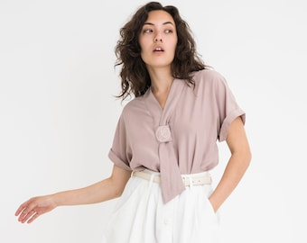 70s Pale Purple Embroidered Top L