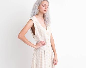 90s Tan Plaid Sleeveless Dress XL