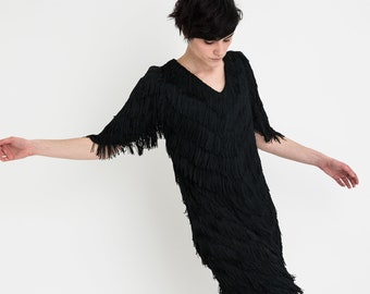 80s Black Fringe Dress M