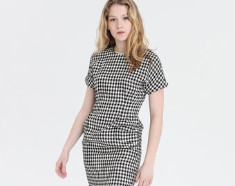 97ec264775d 80s B W Fitted Houndstooth Dress S