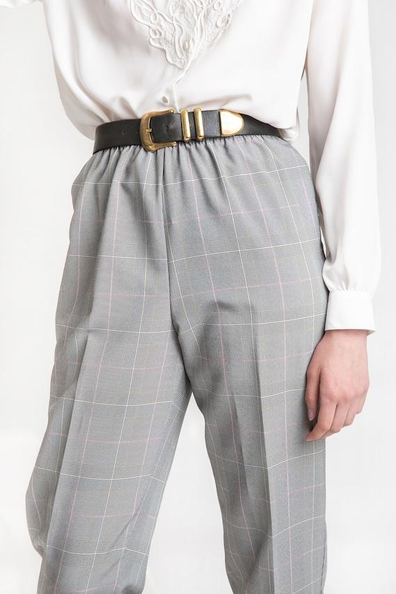 80s B&W Plaid Elastic Pants M - image 9