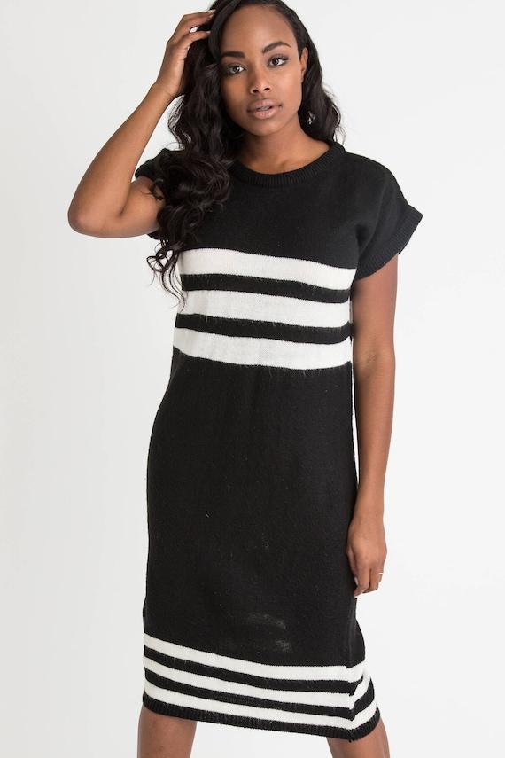 80s Black Stripe Sweater Dress M