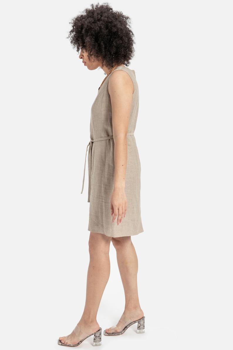 90s Natural Linen Shift Dress M